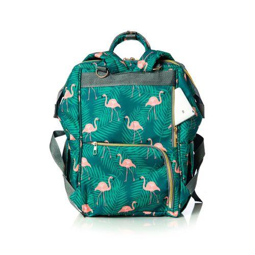 Lal Baby Flamingo Desenli Yeşil Anne Bebek Bakım Sırt Çantası