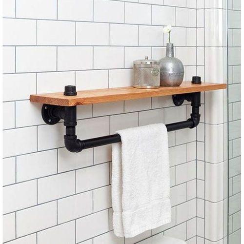 MyWondry Çok Amaçlı Dekoratif Ahşap Banyo Mutfak Duvar Rafı Askılık Havluluk MODEL 91