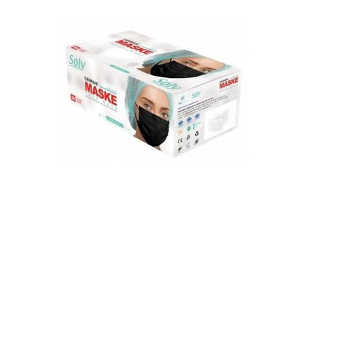 Care Siyah 3 Katlı Full Ultrasonic Telli Maske 300 Adet