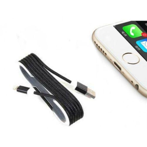 iPhone Örgü Şeklinde Renkli Çelik Şarj Data Kablosu - Siyah