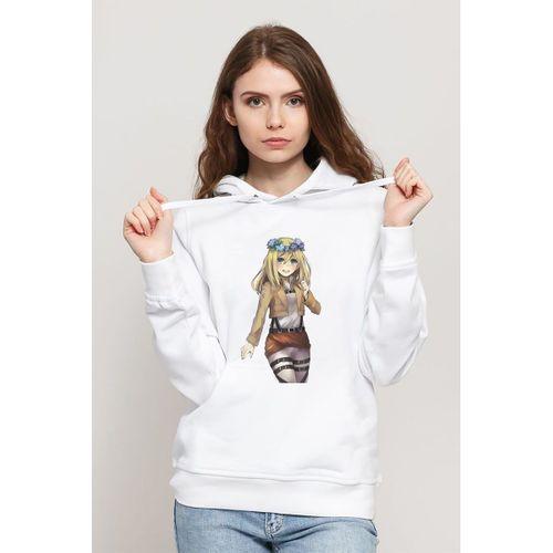 Anime Attack On Titan Baskılı Beyaz Kadın Örme Kapşonlu Sweatshirt Uzun kol