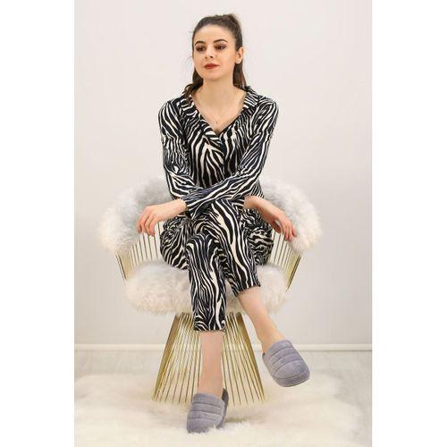 Düğmeli Pijama Takımı Zebra