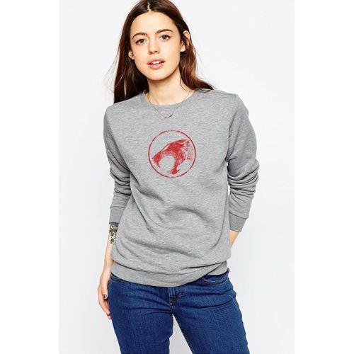 Thundercats Logo Baskılı Gri Kadın Örme Sweatshirt Uzun kol