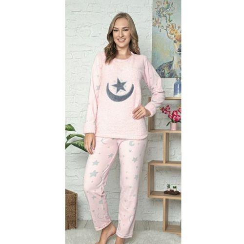 Kadın Ayyıldız Desenli Polar Pijama Takımı
