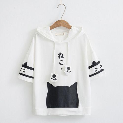 Beyaz Pati Kore Tarzı T-shirt kore004