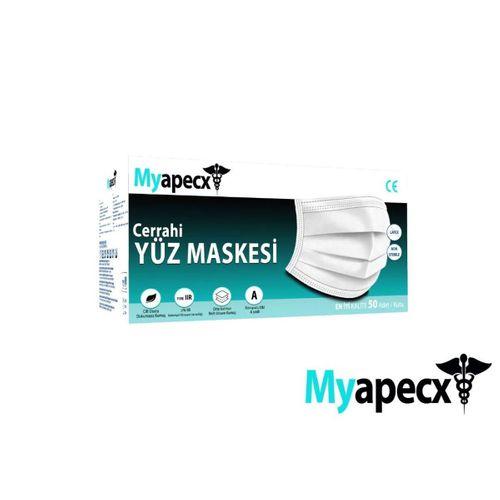 Myapecx MELTBLOWN 3 Katlı Tam Ultrasoniki Maske 50 adet Siyah