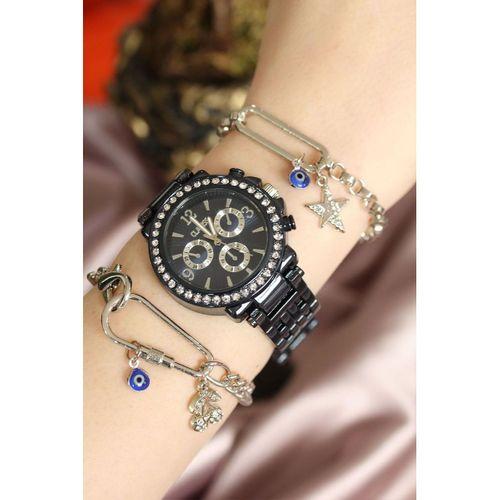 Clariss Marka Lacivert Renk Metal Kordonlu Taşlı Saat ve Bileklik Kombini