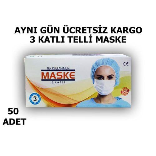 3 Katlı Cerrahi Yüz Maskesi Ultrasonik - 50 Adet