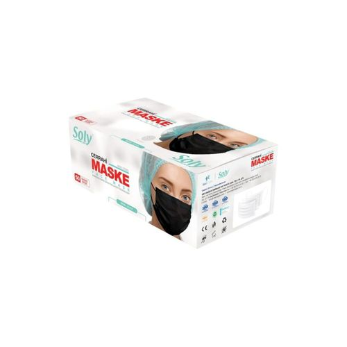 3 Katlı Siyah Maske 250 Adet ( 5 Kutu )
