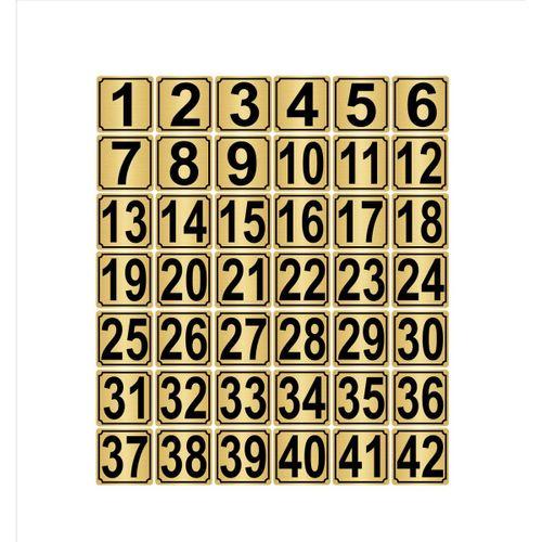 Metal Kapı,masa,dolap Numarası 20cmx20cm 42 Adet (1…42) Altın Renk Metal