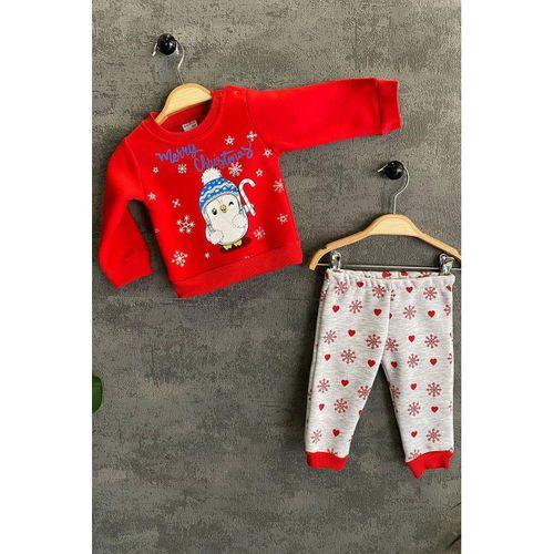 Bebek Merry Chrıstmıs Noel Baba Penguen Baskılı Takım