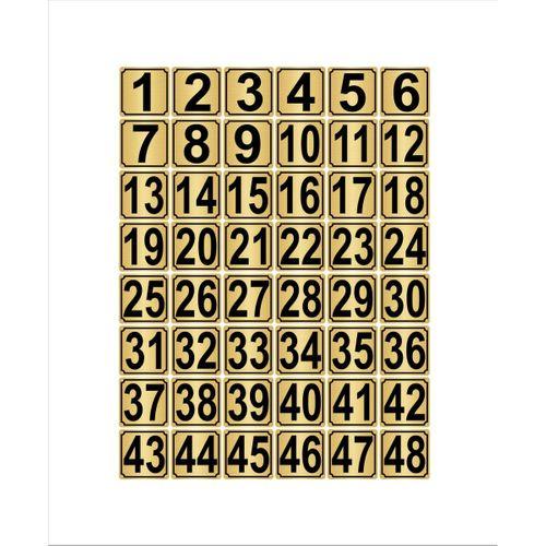 Metal Kapı,masa,dolap Numarası 3,5cmx3,5cm 48 Adet (1…48) Altın Renk Metal