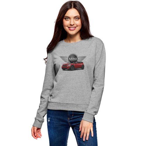 Mini cooper Baskılı Gri Kadın Örme Sweatshirt Uzun kol