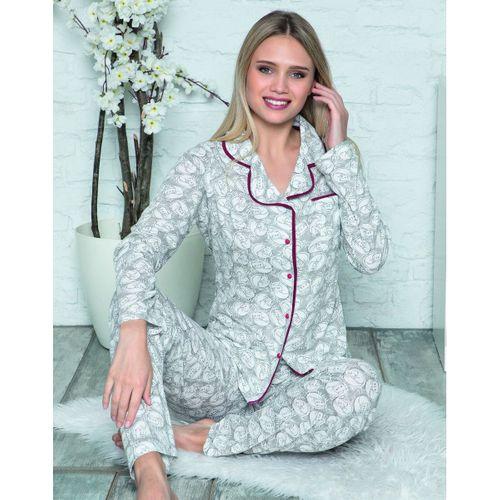 Yeni Sezon Kışlık Düğmeli Kadın Pijama Takımı 2 Renk