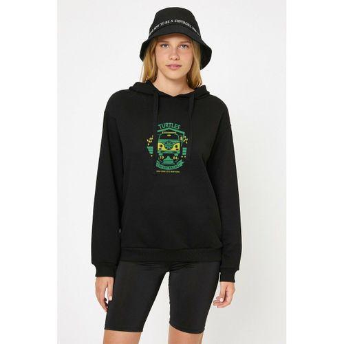 Turtles Baskılı Siyah Kadın Örme Kapşonlu Sweatshirt Uzun kol