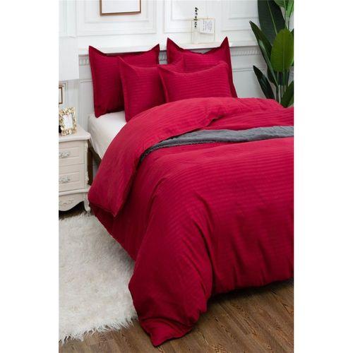 Lüks Çift Kişilik Pamuk Saten Nevresim Takımı Kırmızı Çizgili Şeritli (4 Yastıklı)