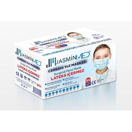 JASMİNMED Cerrahi Tek Kullanımlık Telli 3 Katlı Maske Beyaz 50li