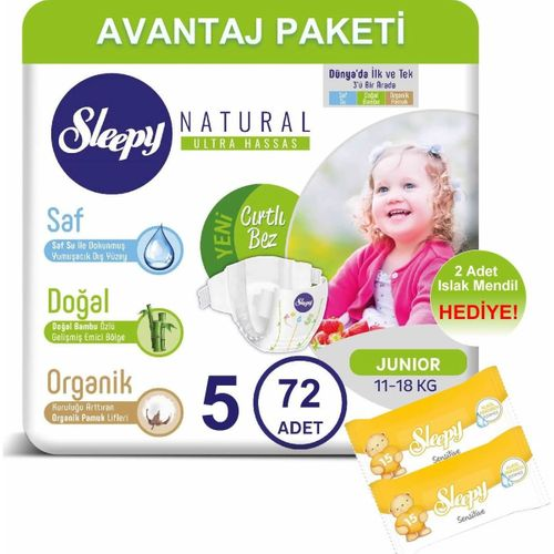 Sleepy Natural Bebek Bezi Avantaj Paketi 5 Numara 72li 11-18 kg + Islak Mendil
