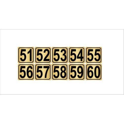 Metal Kapı,masa,dolap Numarası 3,5cmx3,5cm 10 Adet (51…60) Altın Renk Metal