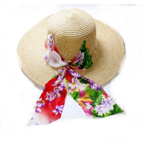 Hasır Şapka Şık Kurdele Detaylı Bayan Yazlık Model
