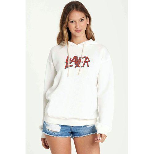Slayer Grubu Logosu Rock Music  Baskılı Beyaz Kadın Örme Kapşonlu Sweatshirt Uzun kol