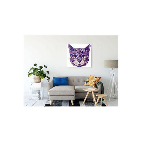 Mor Renkli Kiremit Desenli Kedi Görseli Kanvas Tablo 80x80 cm