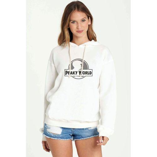 Peaky Blinders  Peaky World Baskılı Beyaz Kadın Örme Kapşonlu Sweatshirt Uzun kol