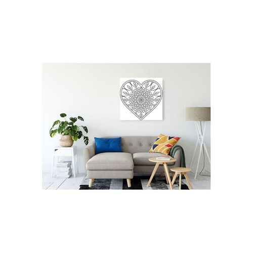 Mandala Çizgi Desenli  Kalp Görseli Kanvas Tablo 70x70 cm
