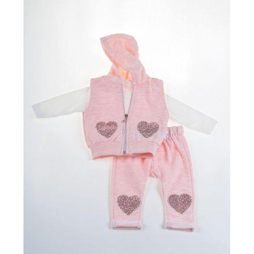 Kız Bebek Kalp Nakışlı 3lü Yelekli Takım