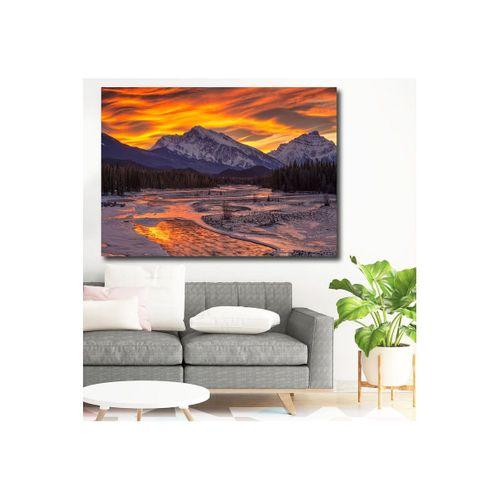 Doğa Üzerinde Güneş Batarken Kanvas Tablo  100 x 150 cm