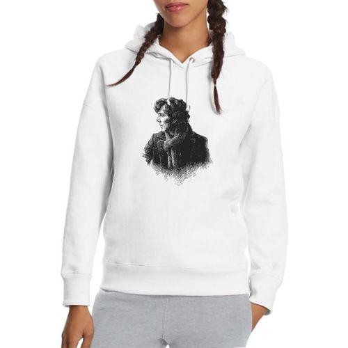 Sherlock  Eskiz Baskılı Beyaz Kadın Örme Kapşonlu Sweatshirt Uzun kol