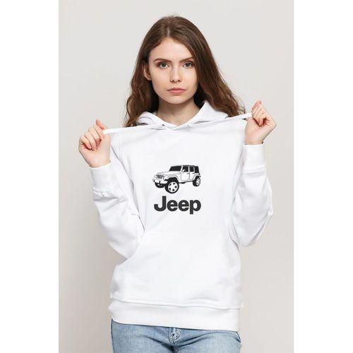 JEEP      Baskılı Beyaz Kadın Örme Kapşonlu Sweatshirt Uzun kol