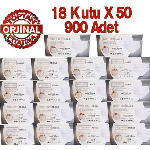 Taş-Han Cerrahi Maske, Burun Telli, Yumuşak Lastikli 900 Adet