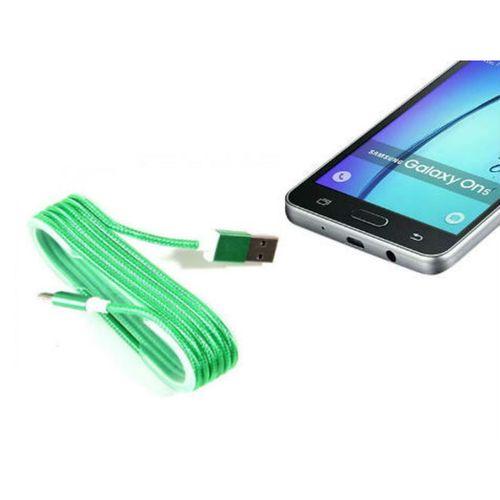 Android Örgü Şeklinde Renkli Çelik Şarj Data Kablosu - Yeşil