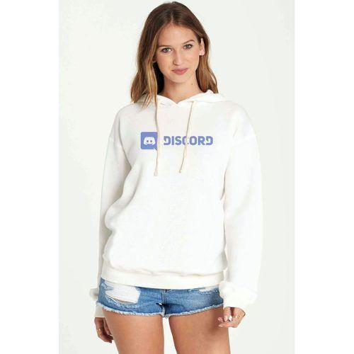 Discord Yazı Baskılı Beyaz Kadın Örme Kapşonlu Sweatshirt Uzun kol