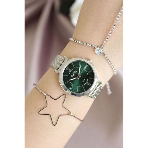 Gümüş Renk Hasır Clariss Marka Kadın Saat ve Bileklik Kombini