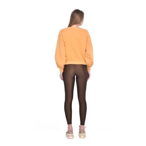 Kadın Hardal Basic Kolları Volanlı Ve Pileli Crop Örme Sweatshirt