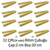 12 ÇİFT RİTİM ÇUBUK SETİ (24 adet) Ritim Çubuğu Ritm Çubuğu