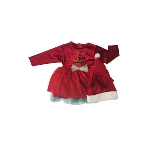 Kız Bebek Yılbaşı Christmas Şapkalı Elbise