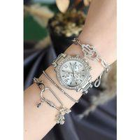 Gümüş Renk Metal Taşlı Kasa Kadın Saat ve Bileklik Kombini