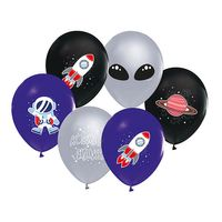 Kozmik Galaksi Temalı Pastel Balon Astronot Baskılı 20 li