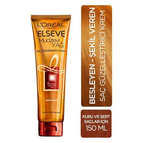 Elseve mucizevi yağ besleyici şekil veren yağ kremi kuru sert saçlar için durulanmaz 150 ml